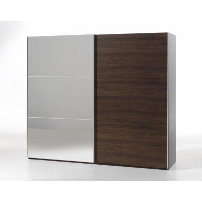 Kleerkast 250cm (2 schuifdeuren) + spiegel in noot