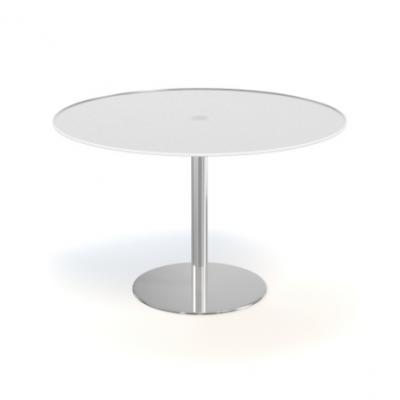 Tafel rondo - glas mat wit