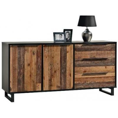 Dressoir 2 deuren 3 laden mixed plank old wood 121-003-35-50