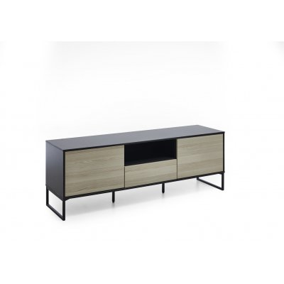 Tv-meubel 2d+1l antraciet/hout