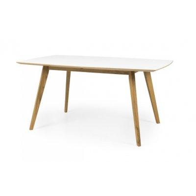 Tafel wit laminaat (uitschuifbaar: 160 naar 205cm)