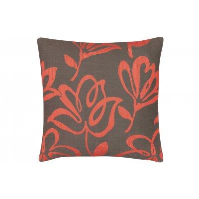 Kussen bloem taupe/rood
