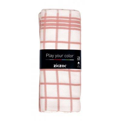 Keukenhanddoek streep roze (set van 3)