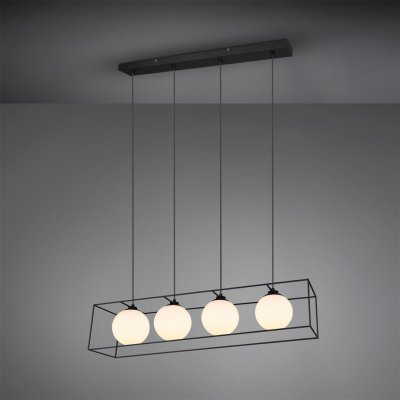 Hanglamp gabbia 4 lichts mat zwart/wit