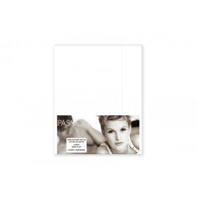 Laken tweepersoons - katoensatijn - wit (240x300)