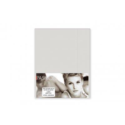 Laken tweepersoons - katoensatijn - licht grijs(240x300)