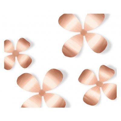 Wanddeco bloem metaal koper
