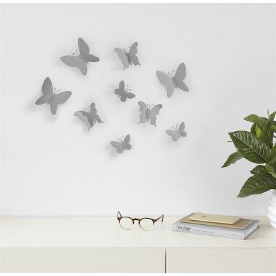 Wanddecoratie vlinders grijs