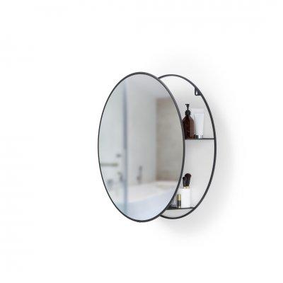 Ronde spiegel met wandrekje zwart